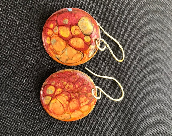 SJC10333 - Handmade round red orange gold enamel gold plated earrings with abstract designs