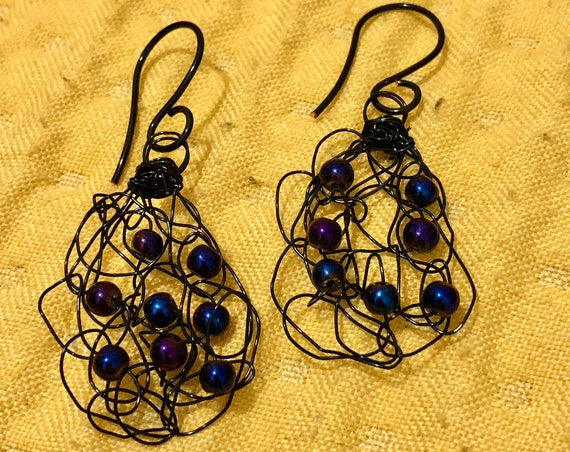 SJC10306 - Handmade black wire crochet earrings with peacock blue pearls