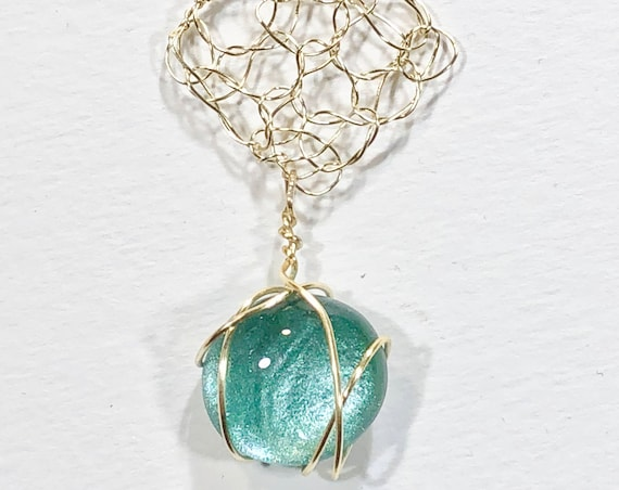 SJC10230 - Necklace - silver plated wire crochet diamond shape pendant with turquoise blue round glass cabochon