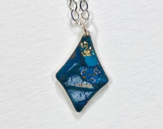 SJC10126 - Handmade blue/white/gold/silver polymer clay necklace with abstract asymmetric design and silver plated chain
