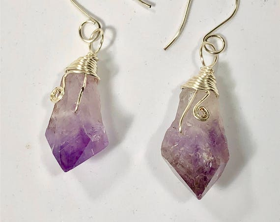 SJC10189 - Handmade silver plated earrings with wire wrapped amethyst gemstones