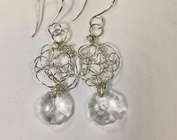 SJC10046 - Earrings - sterling silver wire crochet with recycled clear chandelier crystal hexagonal prism