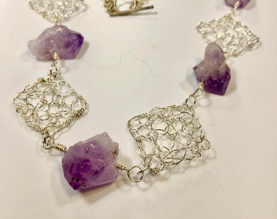SJC10190 - Handmade silver plated necklace with amethyst gemstones, silver plated wire crochet pieces and sterling silver toggle clasp.