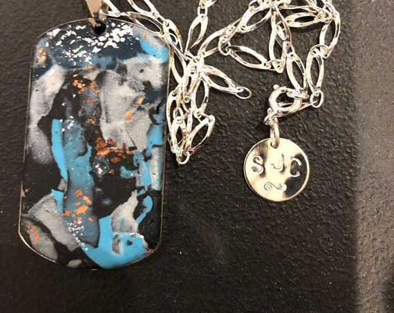 SJC10419 - Handmade rectangular steel polymer clay (blue/white/silver) pendant abstract necklace with silver plated chain