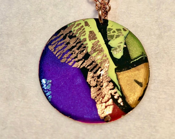 SJC103401 - Handmade purple/red/yellow/orange/green/copper/black polymer clay round pendant necklace with abstract asymmetric design
