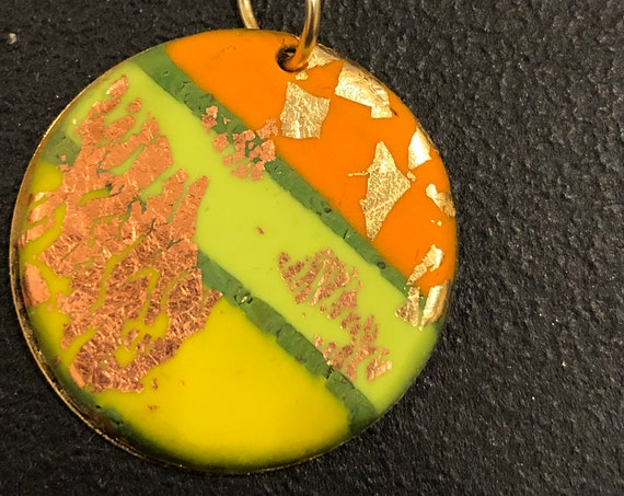 SJC10437 - Handmade green/orange/yellow/copper gold polymer clay round contemporary abstract pendant necklace with 14K gold filled chain