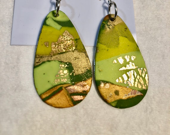 SJC10373 - Earrings - multi color silver plated green contemporary handmade polymer clay on drop shaped piece - sterling silver ear wire
