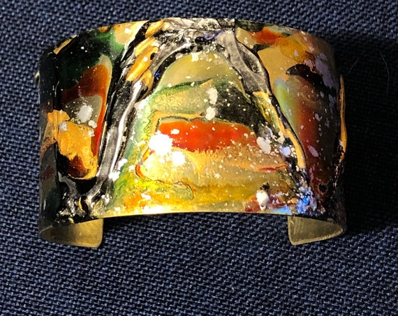 SJC10511 - Enamel painted brass cuff open bracelet with abstract design (black/green/gold/orange/silver)