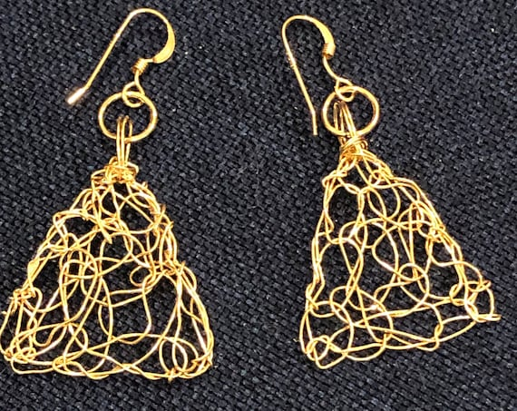SJC10493 - Handmade 14K gold filled wire crochet triangle earrings & ear wires