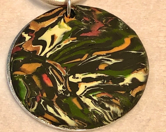 SJC103404 - Handmade multicolor marbled black polymer clay round pendant necklace with abstract asymmetric design