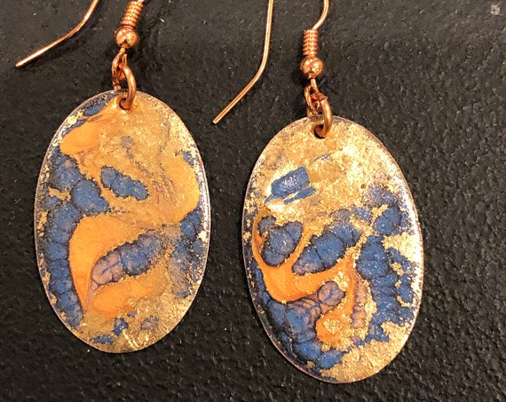 SJC10410 - Handmade oval-shape enamel earrings with abstract designs (orange/blue/gold) with copper ear wires