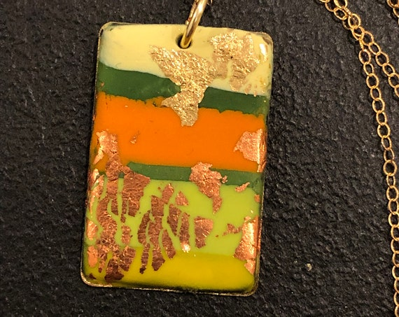 SJC10440 - Handmade green/orange/yellow/copper polymer clay rectangular contemporary abstract pendant necklace with 14K gold filled chain
