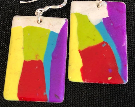 SJC10424 - Earrings - white green blue red purple yellow abstract handmade polymer clay on rectangular piece with sterling silver ear wire