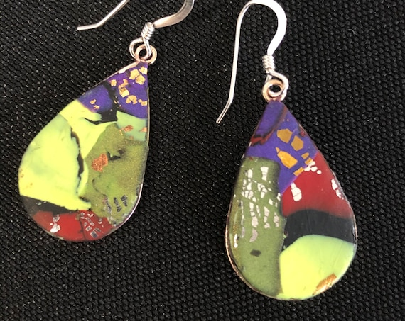 SJC10421 - Earrings - orange green yellow red purple contemporary handmade polymer clay on drop shaped piece with sterling silver ear wire