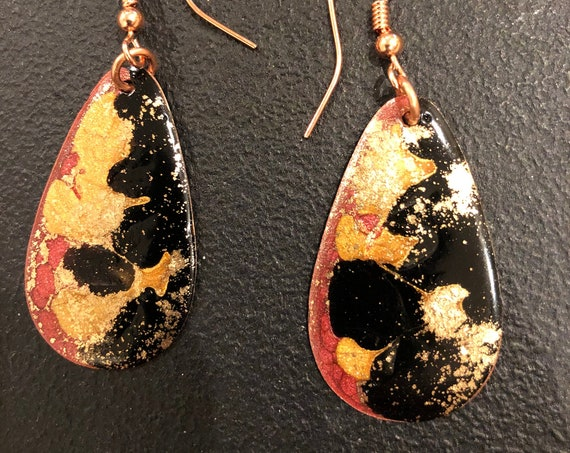 SJC10408 - Handmade drop-shape enamel earrings with abstract designs (red/gold/silver) with copper ear wires