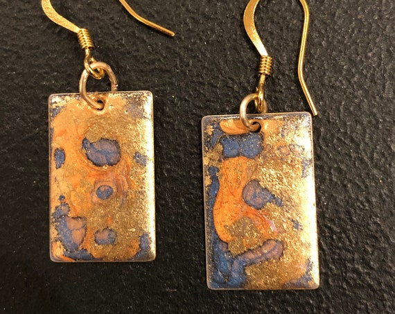 SJC10412 - Handmade rectangular enamel earrings with abstract designs (orange/blue/gold) with 14K gold-filled ear wires
