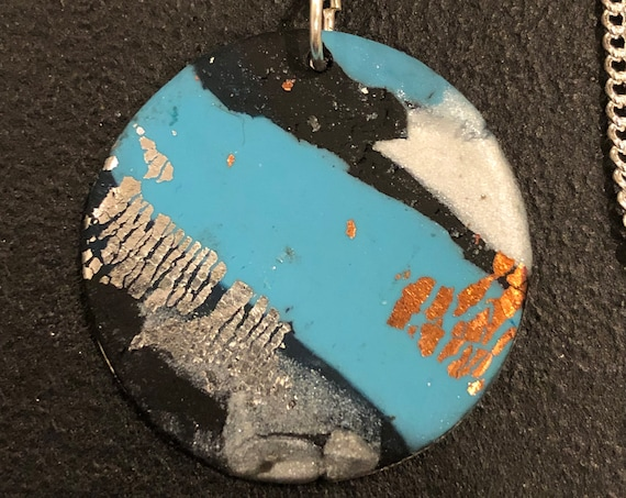 SJC10433 - Handmade blue/white/copper/black silver polymer clay round pendant necklace with abstract asymmetric design