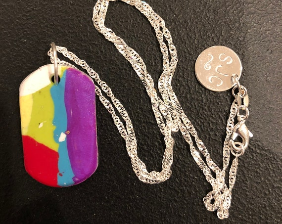 SJC10432 - Handmade rectangular silver polymer clay (purple/white/yellow/red/blue/green) pendant necklace with sterling silver chain