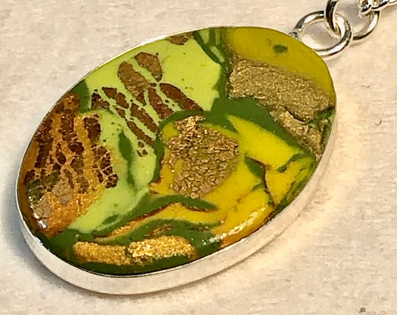 SJC10406 - Handmade yellow/green/orange/gold/silver polymer clay oval bezeled pendant necklace with abstract asymmetric design