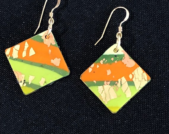 SJC10428 - Earrings - orange green gold contemporary abstract handmade polymer clay on diamond shaped piece with 14K gold filled ear wire