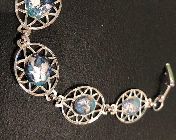 SJC10445 - Handmade blue/silver silver plated enamel painted rectangular contemporary abstract bracelet