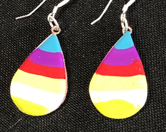 SJC10431 - Earrings - orange green yellow red purple contemporary handmade polymer clay on drop shaped piece with sterling silver ear wire
