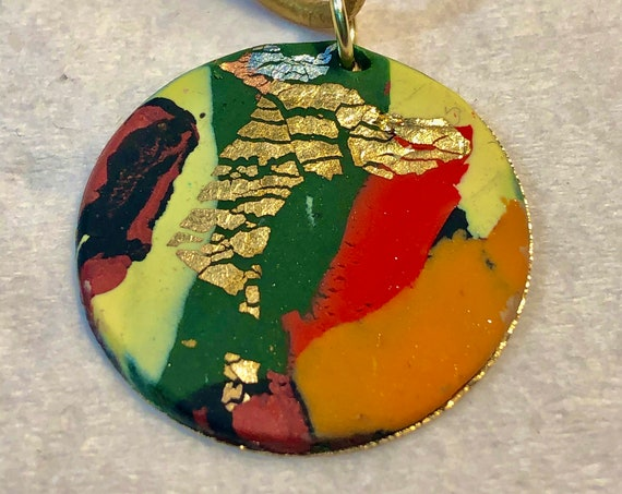 SJC103403 - Handmade green/red/yellow/orange/black/gold polymer clay round pendant necklace with abstract asymmetric design