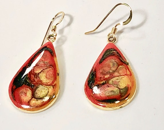 Handmade drop shape red orange black gold enamel gold plated earrings with abstract designs