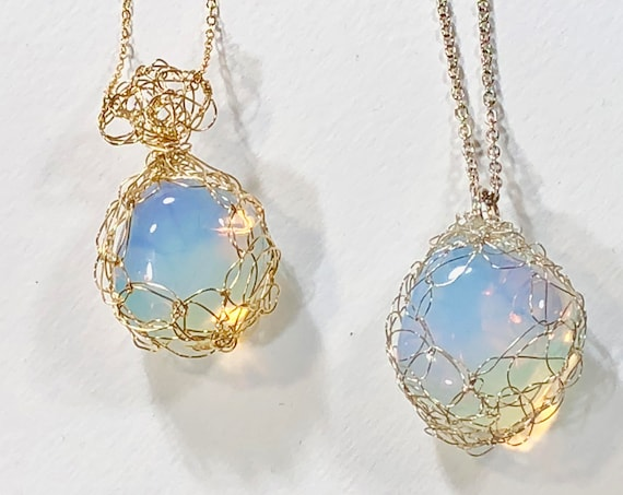 SJC10101 - Handmade necklace with 14K gold filled or sterling silver wire crochet bezeled pendant with opalite