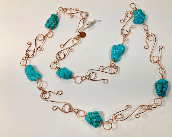 SJC10138 - Handmade copper necklace with turquoise gemstones, uniquely designed copper wire pieces and copper eye and hook clasp.