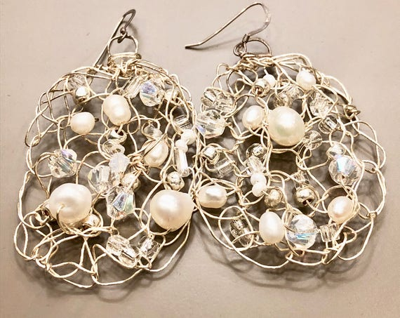 SJC10205 - Handmade sterling silver wire crochet earrings with pearls, crystal, moon stones and glass beads.
