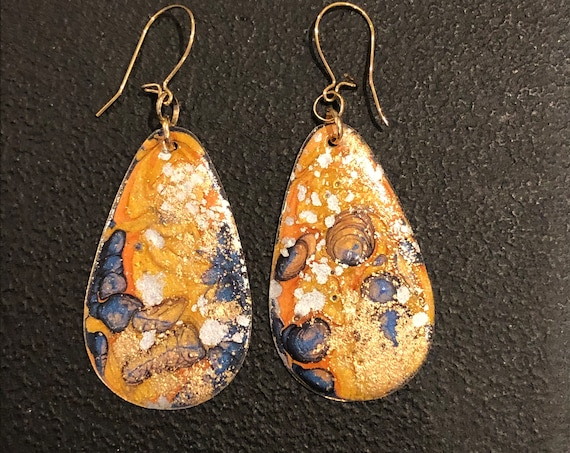SJC10455 - Handmade drop-shaped enamel earrings with abstract designs (blue/orange/gold) with 14K gold filled ear wires