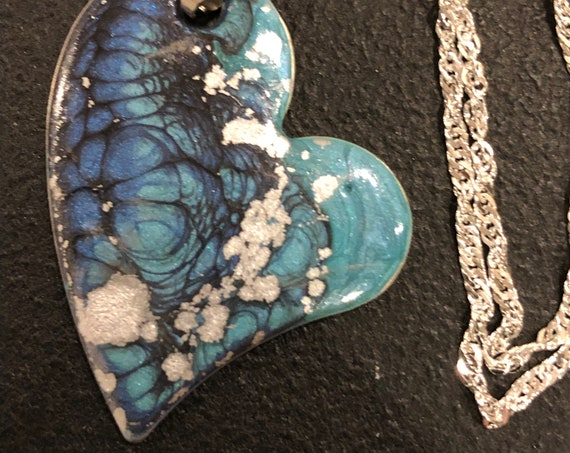 SJC10448 - Handmade heart steel enamel painted (blue/turquoise/silver) pendant abstract necklace with sterling silver chain.