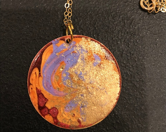 SJC10452 - Handmade round gold plated enamel painted (purple/orange/red/gold) pendant abstract necklace with 14K gold filled chain.