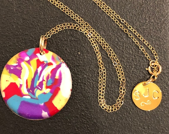 SJC10439 - Handmade green/orange/yellow/blue/purple/white polymer clay round contemporary pendant necklace with 14K gold filled chain