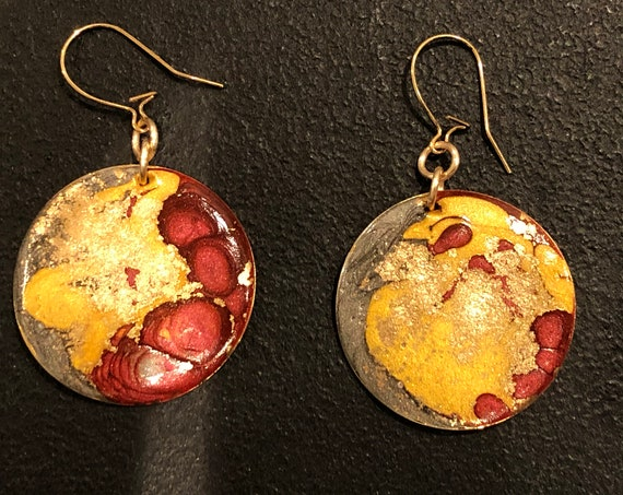 SJC10454 - Handmade round enamel earrings with abstract designs (charcoal/gold/red) with 14K gold filled ear wires