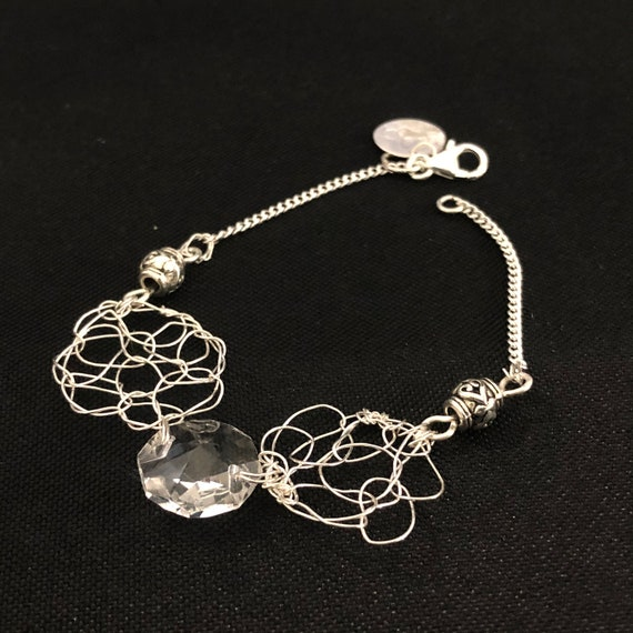 SJC10486 - Bracelet - sterling silver round wire crochet designs with chandelier clear crystal prism and sterling silver beads