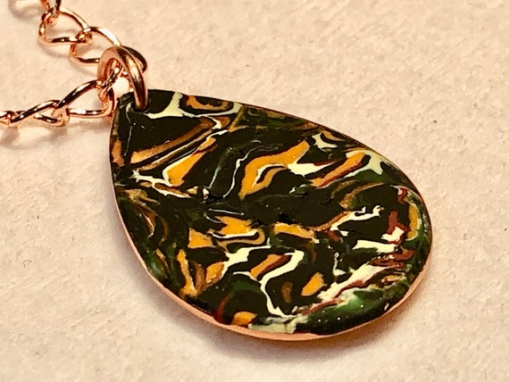 SJC10407 - Handmade multicolor marbled orange/yellow/black/copper polymer clay drop bezeled pendant necklace with abstract asymmetric design