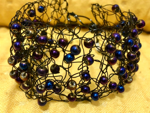 SJC10302 - Handmade black wire crochet cuff bracelet with peacock blue pearls
