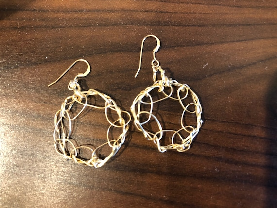 SJC10476 - Handmade ring 14K Gold filled wire crochet earrings