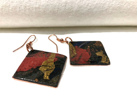 SJC10034 - Earrings - contemporary handmade polymer clay on diamond shaped copper piece with copper ear wire