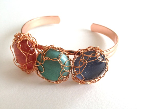 SJC10091 - Handmade glass cabochon wire crochet copper bracelet