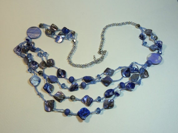 SJC10287 - Vintage multi branch blue necklace with various styles beads and shell necklace