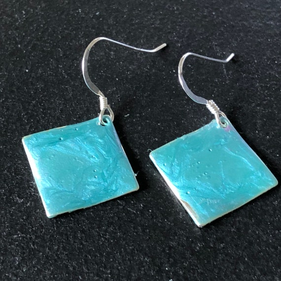SJC10460 - Handmade small diamond shape blue turquoise enamel silver plated earrings