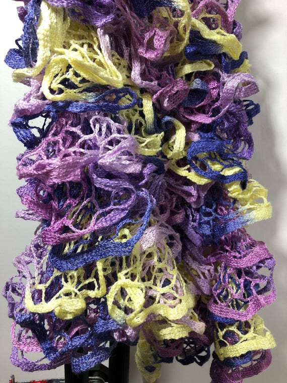 SJC10108 - Handknit - Ruffled Scarf purple yellow lavender