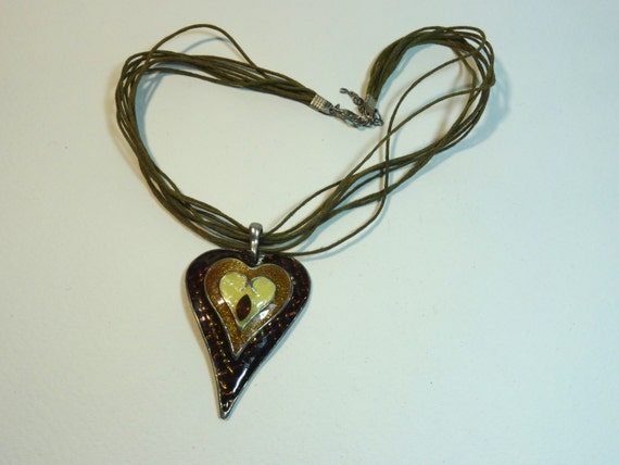 SJC10275 - Vintage  - SJC10008 - brown heart pendant necklace