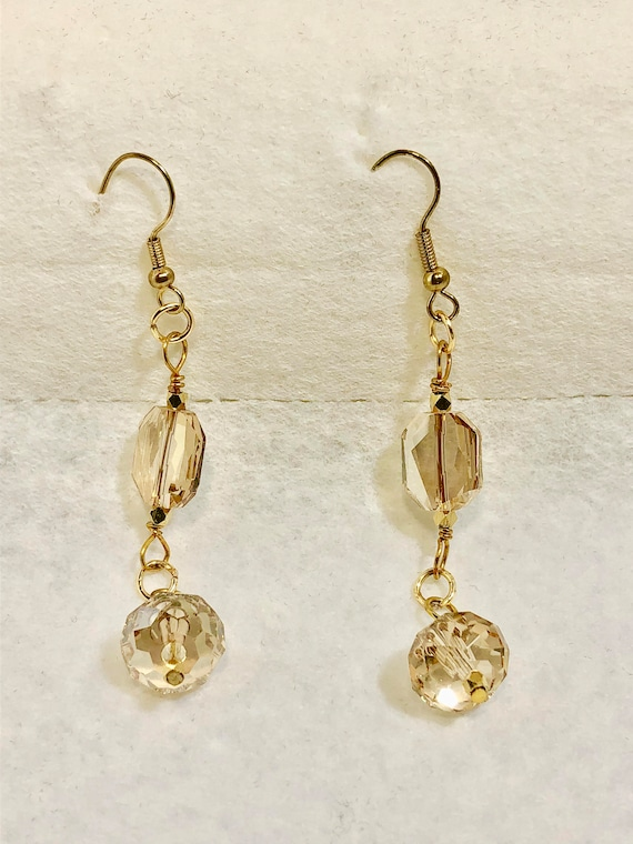SJC10273 - unique Swarovski earrings, gold plated earrings, Swarovski gold earrings, unique handcrafted earrings, translucent