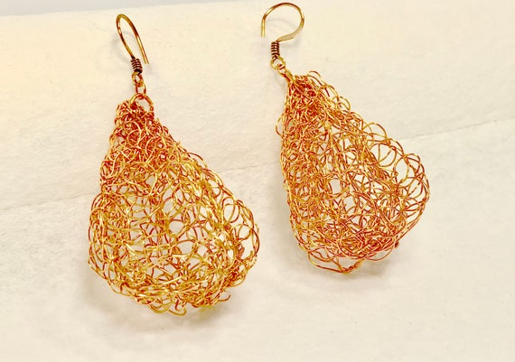 SJC10105 - handcrafted unique copper earrings, metal crochet chandelier earrings, fall earrings, unique wire chandelier earrings