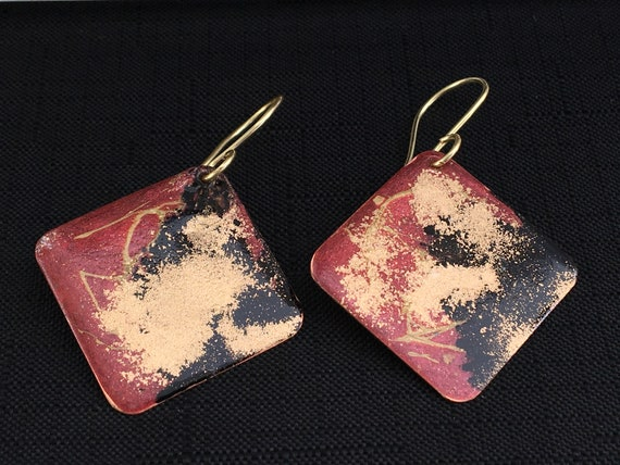 SJC10349 - Handmade square red black gold enamel gold plated earrings with abstract designs