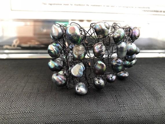 SJC10367 - Handmade black wire crochet cuff bracelet with gray fresh water pearls